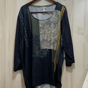 Catherines Patchwork Tunic w/Round Neck Blue/Green